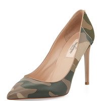 "~~ SOLD-OUT! ~~ VALENTINO $1175 ""PATCHWORK CAMO SAFARI"" POINTED PUMPS/HEELS 39"