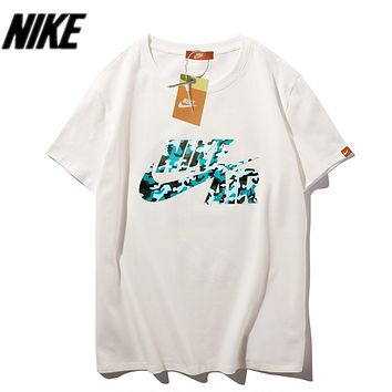 Nike Summer New Fashion Camouflage Letter Hook Print Women Men Top T-Shirt White