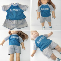 """bitty baby clothes, girl, boy, or 15"""" twin doll OR 18"""" DOLL, seattle baseball fan, grey teal shorts t shirt, handmade by adorabledolldesigns"""
