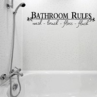 Amazon.com: Vinyl Bathroom Rules Letter Sticker Bathroom Toilet Art Wall Decals