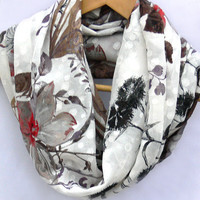 Floral Circle Scarf.  Flowers Infinity Scarf. Loop Scarf. Women Accessory.