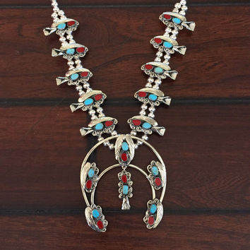 Sale! Real Turquoise and Coral Squash Blossom Necklace   Navajo Jewelry   Turquoise Moon necklace indian southwestern native american silver
