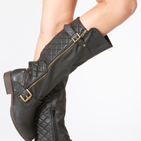 Black Faux Leather Calf Length Quilted Double Buckled Boots