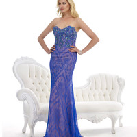 Violet Lace Strapless Gown