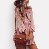 Women Solid Color Long-Sleeved Dress