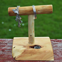 Geppetto's Small Magical Wooden Jewelry Stand, Bracelet Necklace Display with a Knot Hole to Hide Your Rings and What 'Knots', Rocky Mt Juniper Wood