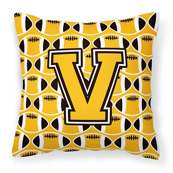 Letter V Football Black, Old Gold and White Fabric Decorative Pillow CJ1080-VPW1414