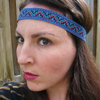 Aztec, Tribal, Geometric, Native Headband purple, blue, pink