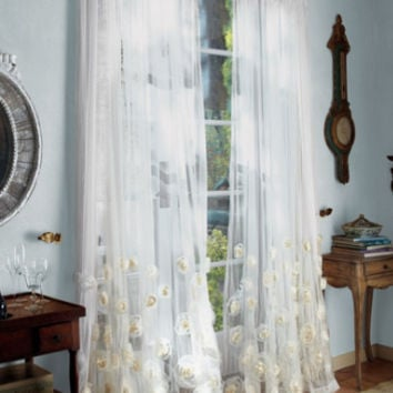 Annalisa Sheer Panel - Sheer Rose Curtains, Drapes With Chiffon And Organza Roses, Window Coverings | Soft Surroundings