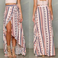 DCCKUN6 Maxi Long Casual Skirt Beach Clothing Sexy Women Lady Clothes Skirts Summer Boho Tribal Floral Beach