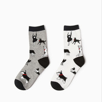 2 colors new design high quality cotton autumn winter creative dogs people pattern novelty happy ladies women brand casual socks