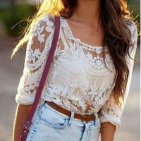 Long Sleeve Crochet Lace Top