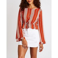 Striped Bell Sleeve Top | Charlotte Russe