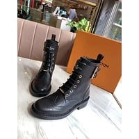 lv louis vuitton trending womens men leather side zip lace up ankle boots shoes high boots 235