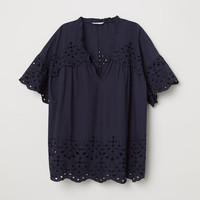 Blouse with broderie anglaise - Dark blue - Ladies | H&M GB