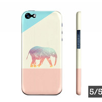 Cute Pastel Ombre Geometric Elephant - iPhone 5 5S 4 4S Case - Elephant Iphone Case - Also Availble For Samsung Galaxy S5 S4 S3