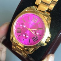 MICHAEL KORS Fashion new rose red dial woemn and men watch golden