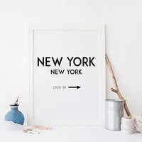 NEW YORK CITY,Digital Wall Art,Typography Art,America,Gift For Him,Fashion Art,Big Apple,Quote Wall Art,New York Sign,Printable Quote