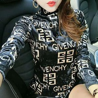 GIVENCHY Autumn Winter Fashionable Women Comfortable Long Sleeve Pleuche Sweater Pullover Top Black