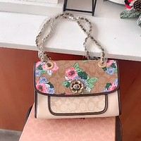 Coach parker floral print women's chain bag shoulder messenger bag