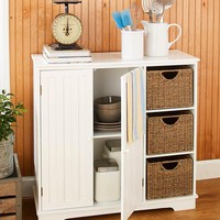 Country Home Kitchen Decorative Storage Display Cabinet with BeadBoard Doors Furniture Unit