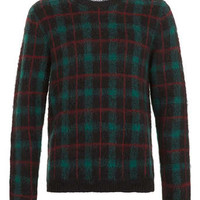 Tartan Sweater With Mohair - Men's Cardigans & Sweaters - Clothing