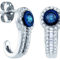 Blue Diamond Fashion Earrings in 10k White Gold 0.65 ctw