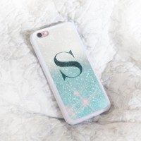 Personalised with initials pastel blue glitter ombre cover for iPhone 7,7 plus