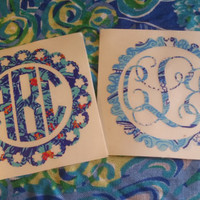 Pretty Lilly Pulitzer Inspired Monogram Sticker/Decal Many Prints To Choose From!