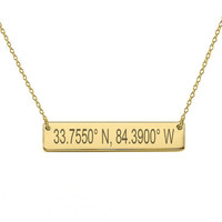"GPS Coordinates 18k Gold Plated Bar Necklace 1"" inch Gold Bar Necklace Latitude Longitude necklace Coordinates made with 925 silver"