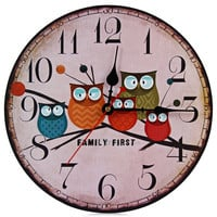 Modern Design Wooden Wall Clock Owl Vintage Rustic Shabby Chic Home Office Cafe Decoration Art Large Watch Horloge Murale