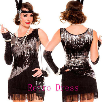 halloween costumes for women  1920s Roaring 20s Black Sequined dress Flapper Costume Charleston Dress with boat