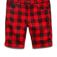Buffalo Plaid Denim Shorts