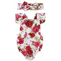 Bodysuit Outfits Baby Girl Newborn Short Sleeve Flower Headband 2pcs Baby Girls Clothes Tops Flower Jumpsuit