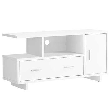 "15'.5"" x 47'.25"" x 23'.75"" White, Particle Board, Hollow-Core - TV Stand with Storage"