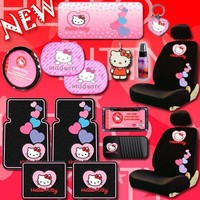 NEW Hello Kitty Heart Design Car Accessories Combo Set with 2 Low Back Seat Covers Steering Wheel Cover Front and Rear Floor Mats CD Organizer Large Sunshade Key-chain License Plate Frame 2 Hello Kitty Air Freshener 2 Window Side Shades and 2oz Purple Slic