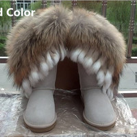Genuine leather tassels Nature Big Fox Fur Girls snow boots High Quality Winter shoes  women