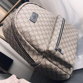 GUCCI Fashion New More Letter Print Women Men Book Bag Backpack Bag Handbag Khaki