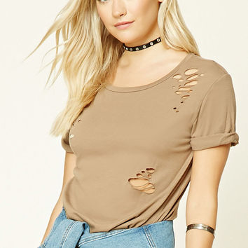 Distressed Cotton-Blend Tee