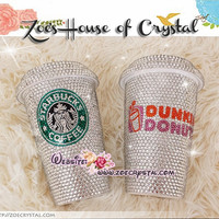 Stylish BLING and Sparkly Crystallized DUNKIN DONUTS Ceramic Mug / Cup with Swarovski / Czech crystals