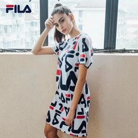 Fila Women Casual Multicolor Letter Print Short Sleeve T-shirt Dress