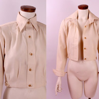 Vintage 70s - Ivory Cream - Pointy Collar Pleated Cropped Button Up Jacket - Disco Glam