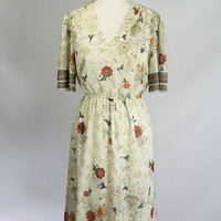 Vintage Sheer Fairy Garden Dress Secretary Day Style Puff Sleeves Floral Print