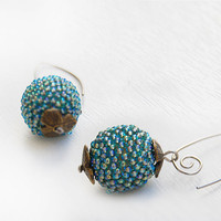 Beaded ball dangle earrings turquoise green blue