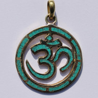 Carved Om Aum Ohm Brass Pendant with Turquoise Inlay -WM672