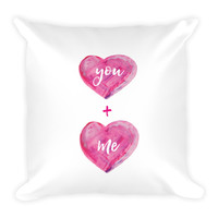 You Plus Me Pink Watercolor Hearts Square Pillow