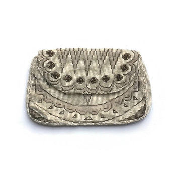 Immaculate Art Deco Purse | Vintage 1930's Ivory Beaded Bag | 1930's Beaded Purse | Rayon Linings | Back Strap | Pearlised Seed Beads