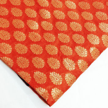 Orange, Gold and Rust Banaras Silk Fabric - Indian Silk Fabric