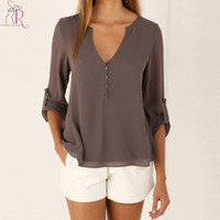 Grey Long Sleeve Chiffon Blouse Fall V Neck Buttoned Back High-Low Asymmetric Loose Casual Top 2015 Autumn Women Clothing
