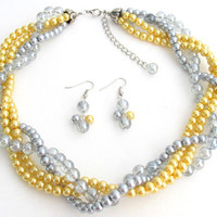 NS1328 Yellow Gray Pearls Twisted Necklace Earrings Wedding Bridesmaid Necklace Bridal Gift  Free Shipping In US
